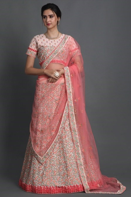 PINK INTRICATED EMBROIDERED LEHENGA