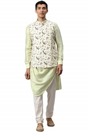 Imperial Pista-Cream Kurta Jacket Set