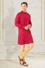 Royal Red Kurta with The Blue Jacket