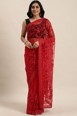 BOLD RED EMBROIDERED SAREE