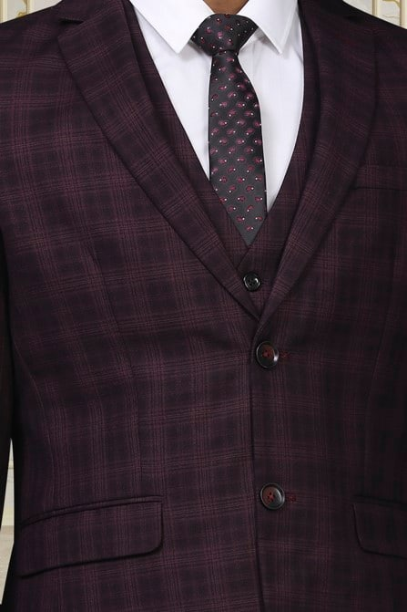 Sophisticated Wine Chequered Suit
