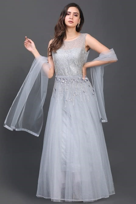 Gleaming Grey Gown