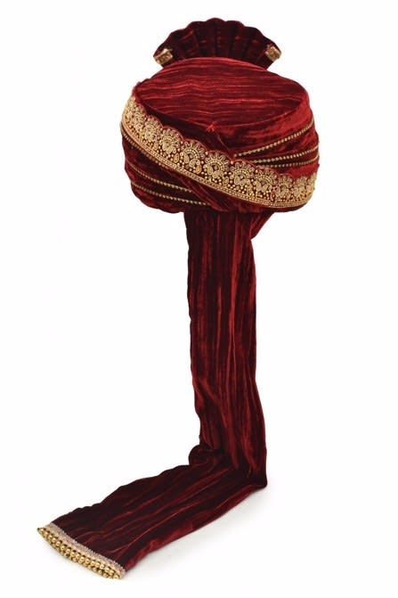 Traditional Maroon Safa with Stone Studded Broach