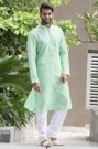 Green Solid Kurta with the Stitch Line