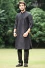 Black Embroidered Kurta Churidar Set