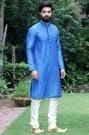 Stunning Blue Kurta Highlighted with All over Stitch Line