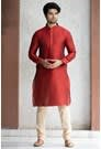Elegant Maroon Kurta With Cream Color Churidar