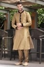 Traditional Yellow Kurta with the touch of Velvet