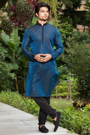 Feroze Blue Kurta With Black Churidar