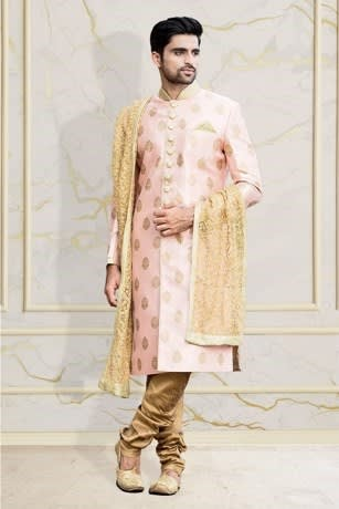 Stylish Sherwani with the Touch of Golden Sequin work