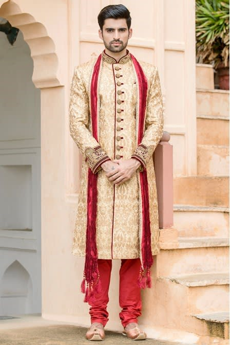 Heavy Embroidered Sherwani With the Touch of Maroon Velvet