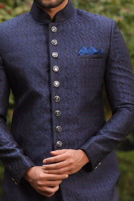 Textured Indo-Western Set With Sitch Detailing