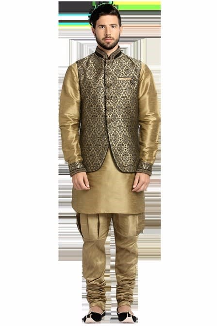 Brown Embroidered Indowestern