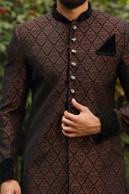Black Indo-Western Set with Brown Traditional Motifs
