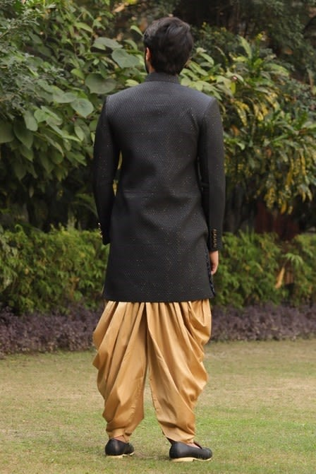 Quilted Indo-Western Set With Metallic Buttons