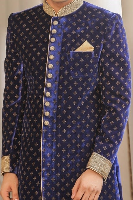 Traditional Blue Indo-Western Attire with the Touch of Zardozi Work