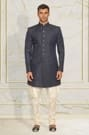 Blue Embroidered  Indo-Western Outfit
