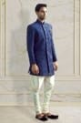 Plush Blue Embroidered Indo-Western Outfit