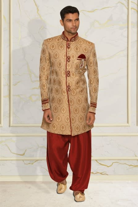 Glam Fawn Embroidered Indo-Western