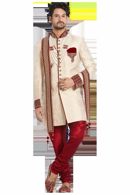 Classic Beige Hand Embroidery indowesterns