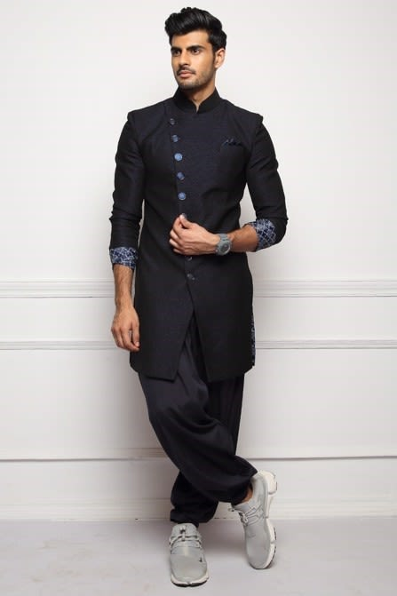 Textured Indo-Western with Metallic Buttons