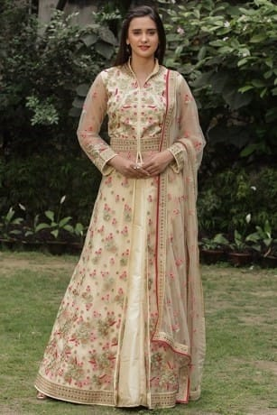 Floral Embroidered Cream Suit
