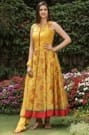 Floral Thread Work Yellow Suit