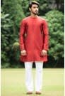Round Neck Maroon Kurta for sherwani